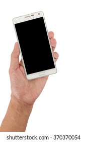 Hand holding the white smartphone isolated on white,Black blank screen.
