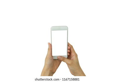 Hand holding white smartphone with white screen at isolated on white background and clipping path.Business concept.