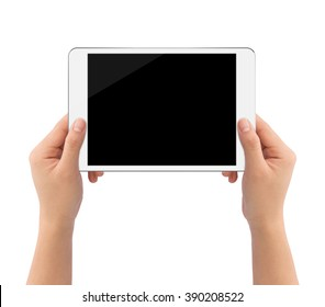 hand holding white tablet similar to ipades style isolated on white clipping path inside easy adjusment