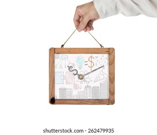 Hand holding whiteboard of dollar sign clock with business concept doodles isolated on white background. Time is money concept. Doodles in this image was created via Photoshop cc by me.