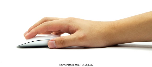 Hand holding a wireless computer mouse