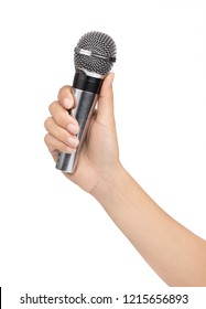 hand holding Wireless microphone isolated on white background