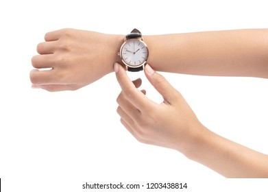 hand holding Wrist Watch isolated on white background