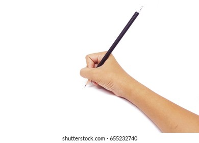 Hand holding and writing the pencil  isolated on white background.