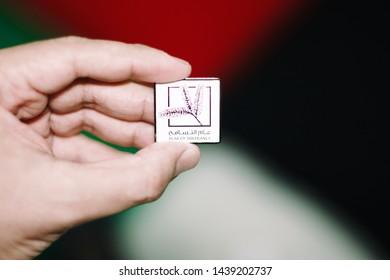 hand holding year of tolerance badge -  - abudhabi /uae - 01/Jul/2019