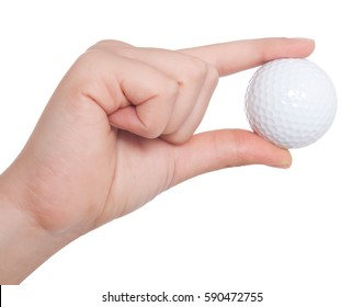 hand holds a ball for golf is isolated on a white background