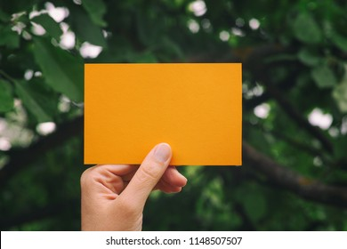 Hand holds blank yellow piece of paper. Close up.