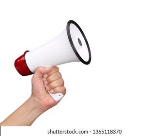 hand holds a megaphone
