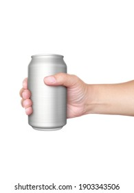 Hand holds metal beverage drink can isolated on white background
