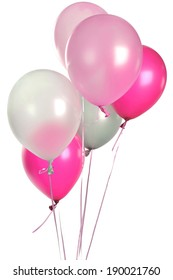 Hand holds pink balloons isolated on white