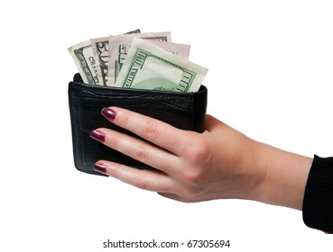 hand holds the purse and money on white
