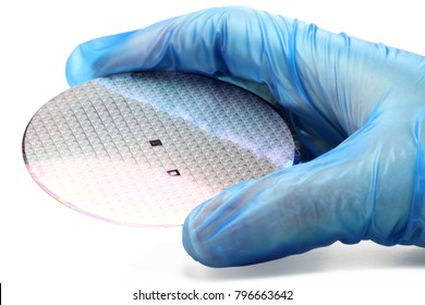 hand holds a silicon wafer for inspection on white background