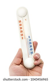 Hand holds thermometer. Isolated on white.