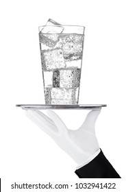 Hand holds tray with sparkling water soda drink on white background