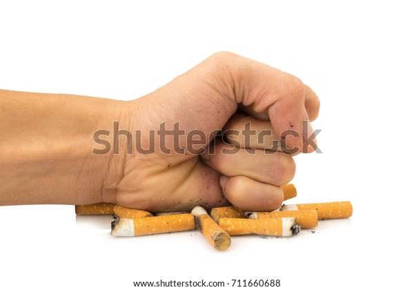 hand human crushed isolated on white background.
