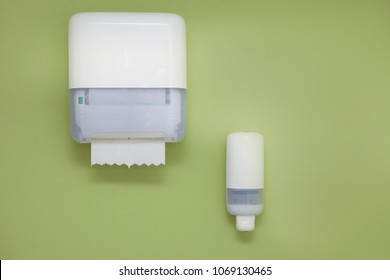 Hand hygiene products Dispensers for soap and towels in public toilet