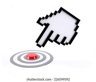 hand icon pointer click on red button isolated on white background