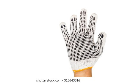 Hand in industrial glove gesturing number five against white background