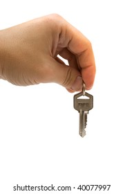 Hand with keys in it isolated over white