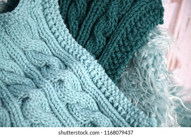 Hand knit blankets in shades of blue