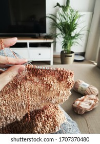 hand knitting at home in isolation