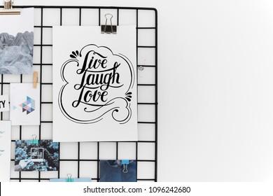 Hand lettering card on the hanger