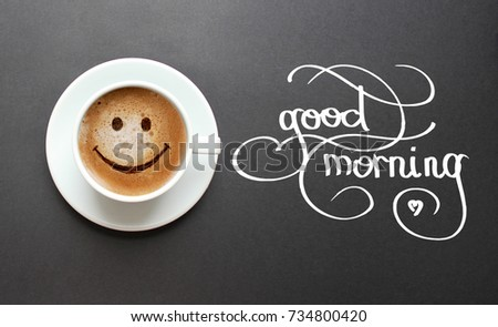 Hand Lettering Good Morning Cup Coffee Stock Photo Edit Now