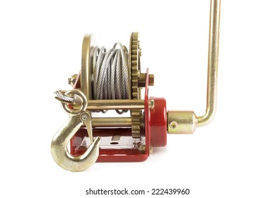 Hand lever winch isolated on white