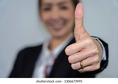 hand like of asian business woman with white background