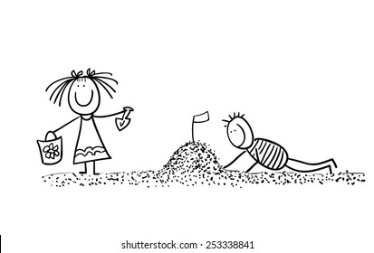 Hand line drawn stick figures playing children in sand