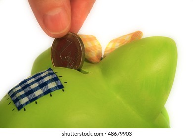 Hand load coin to bank, on white background