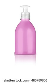 Hand lotion pink plastic bottle, with nice reflection on the surface, isolated on transparent or white background