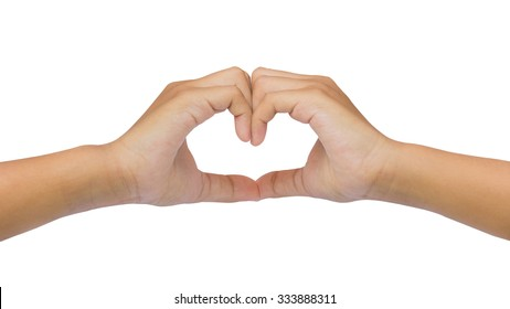 Hand love sign isolated on white background