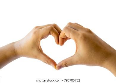 Hand love symbol on white background