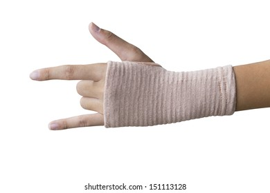 Hand i love you in elastic bandage (with clipping path)