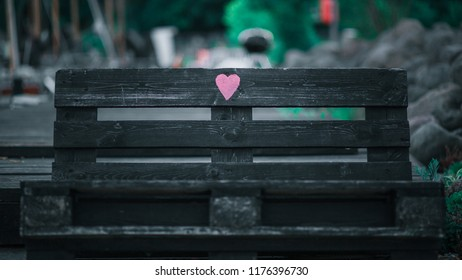 Hand made bench with heart. Perfect place for couples. Romantic place for two. Wallpaper.