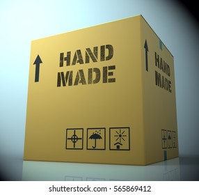 Hand Made Box Showing Handcrafted Product 3d Rendering