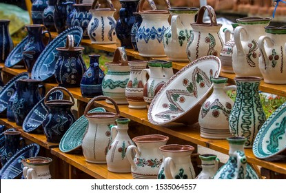 Hand made ceramic pottery. Hand painted pottery. Traditional pottery fair. Cucuteni ceramic pottery. Hand painted ceramics. Romanian ceramic market