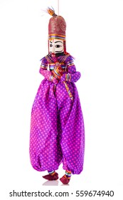 Hand made colorful Rajasthan puppets isolated background