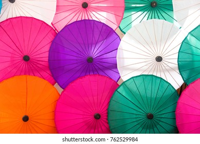 Hand made Colorful of Umbrella Backgrounds,Made from the villagers in Chiang Mai, Thailand.