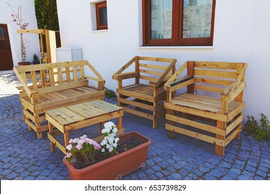 garden furniture made from pallets pinterest hand made garden furniture from pallets made garden furniture pallets stock photo edit now