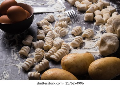 Hand made gnocchi di patata,traditional italian potato noodles ready for cooking