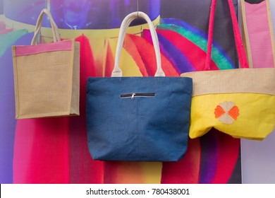 Hand made Jute bags, artworks of handicraft, Handicraft Fair in Kolkata - the biggest handicrafts fair in Asia.