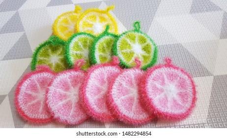 A hand made loofah. Knitted sponge