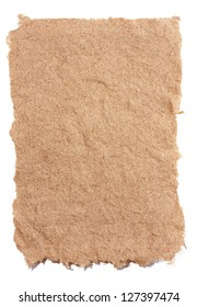 Hand made paper from hemp fibers. Coarse, rough-edged and fibrous. Isolated on white background.