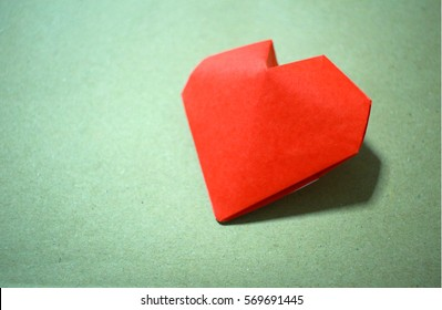 Hand made red paper heart Valentines'day