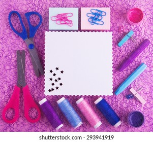 Hand made set in blue, red, purple tones. Good for blogs, web, facebook, instagram. On purple background. White paper card with wavy edges in the middle. Decorated with stars. DIY.