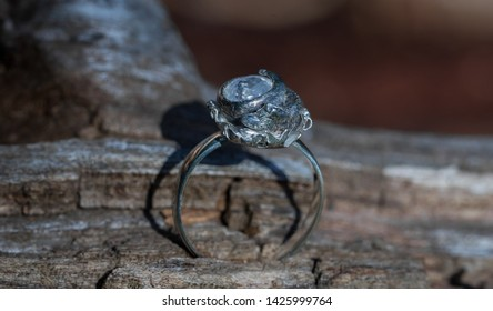 Hand made, silver ring with gem and fox motive in a product photography shot session. Laying on forest bedding in grass and fallen tree