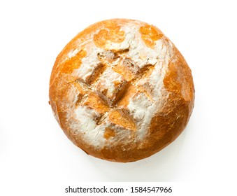 Hand made wheat bread on a white background