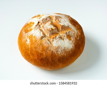 Hand made wheat bread on white